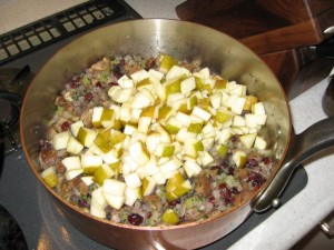 Stuffing with pears